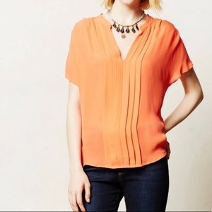 Anthropologie silk coral top size M